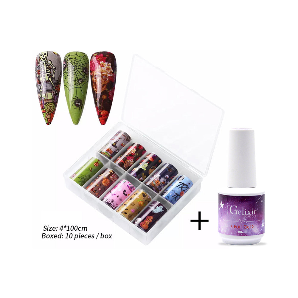 10 Rolls Halloween Nail Art Foil Tranfer Sticker part 1 + 1 Gelixir Foil Gel