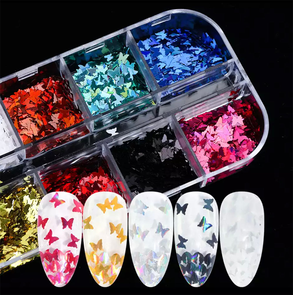 12 Color Buffterfly Nail Art Stickers Sequins (1 box)