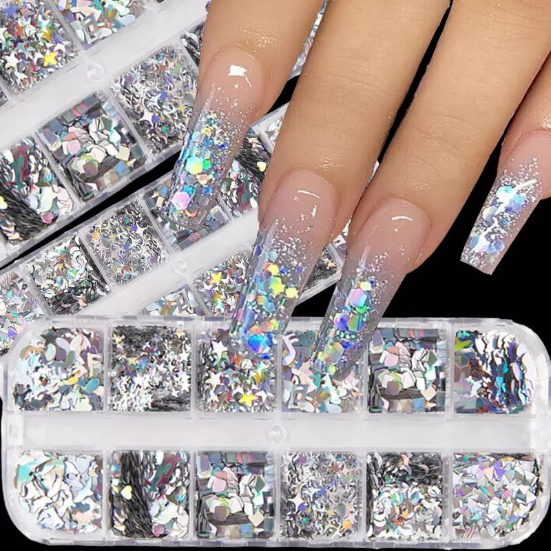 12 Color Holiday Nail Art Stickers Sequins (1 box)
