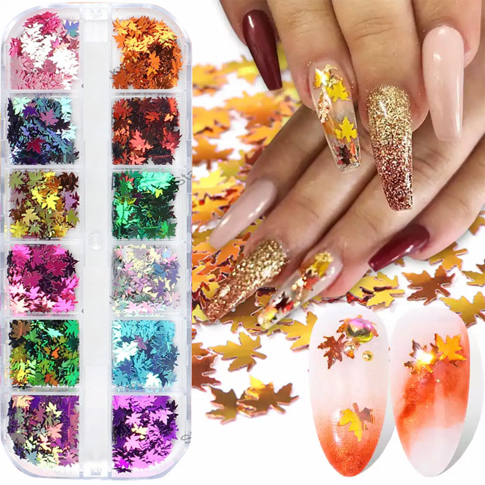 12 Color Maple Leaves Nail Art Stickers Sequins (1 box)