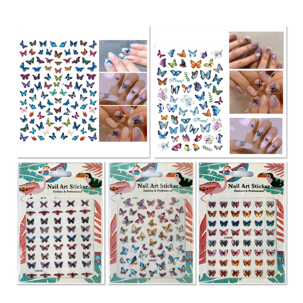 2 Sheets Buffterfly Nail Art Sticker + 3 Sheets 3D Buffterfly Nail Art Sticker