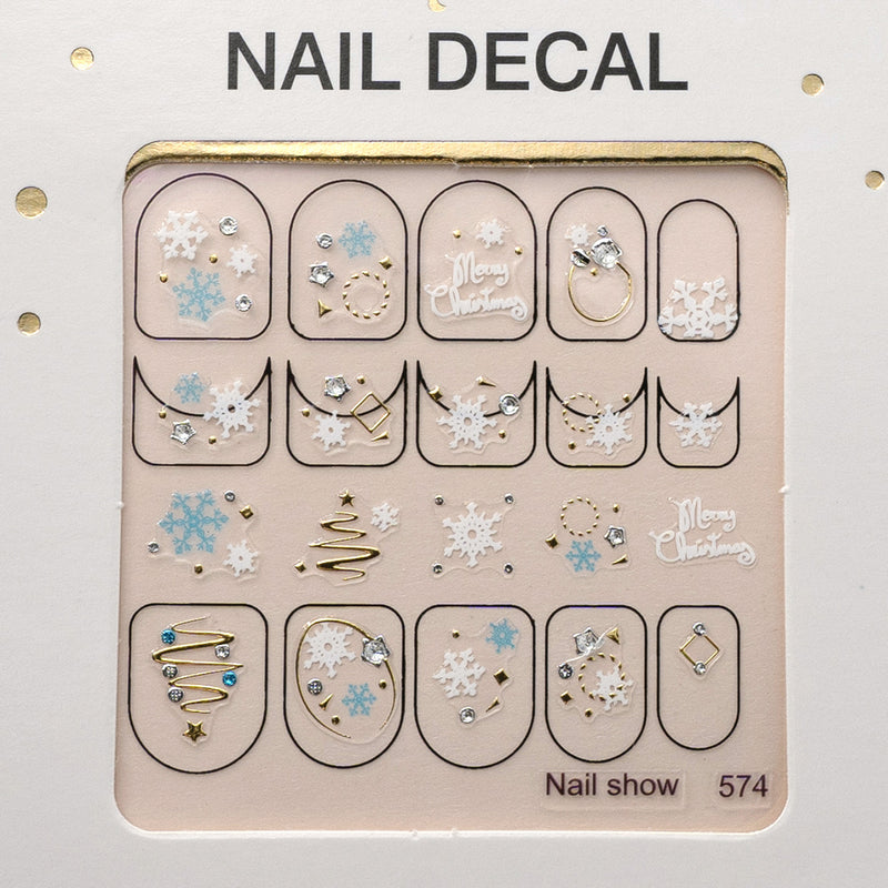 3D Christmas Nail Art Decal Stickers - 574