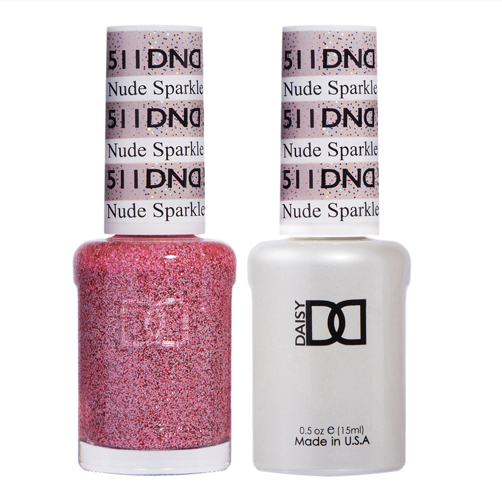 DND 511 Nude Sparkle - DND Gel Polish & Matching Nail Lacquer Duo Set - 0.5oz