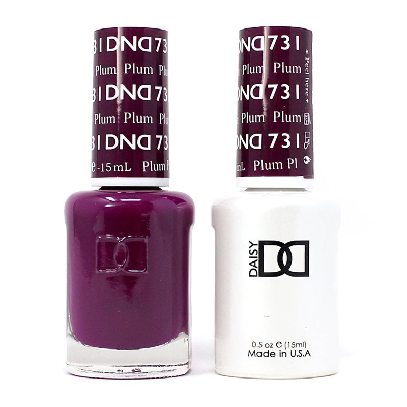 DND 731 Plum - DND Gel Polish & Matching Nail Lacquer Duo Set - 0.5oz