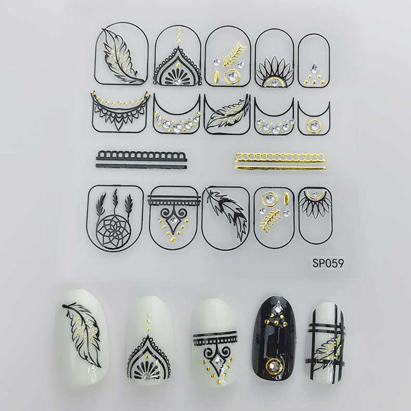 3D Laser Bronzing Nail Stickers SP059