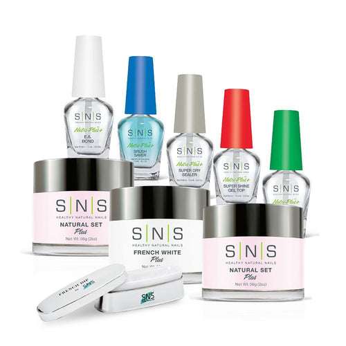 SNS Dip Powder Pink & White Kit 2: French White, Pink, Base, Essentials, Molding