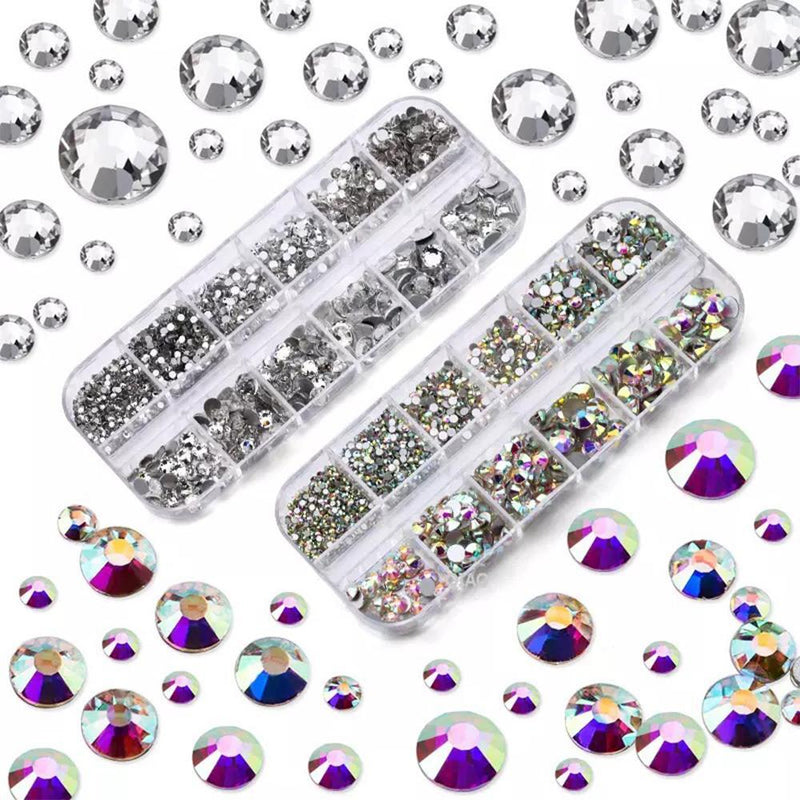 LDS Rhinestones For Nail Art 1 - Crystal AB (Silver Bottom)