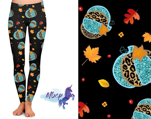 Teal Leopard Pumpkin Custom Pocket Leggings (RG & CV)