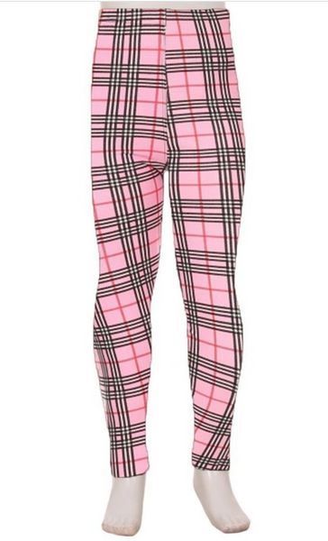 Kids Pink Plaid Leggings (S-XL)