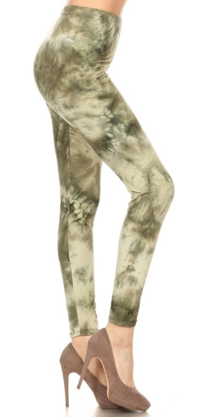 Army Green Tie-Dye Leggings