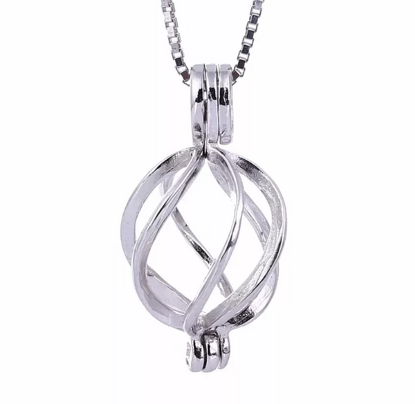 Sterling Silver Twist Cage Pendant Necklace (Pearl Included)