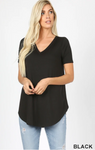 Short Sleeve V-Neck Tunic - Black