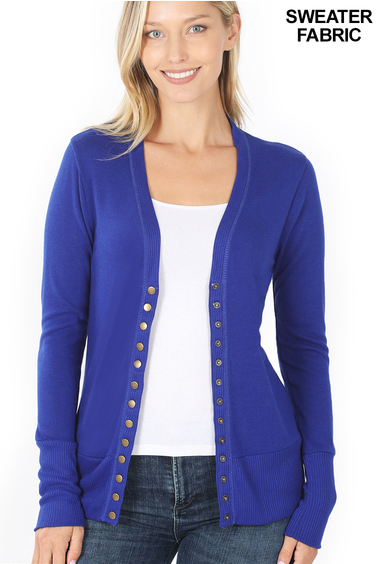 Snap Button Cardigan - Denim Blue