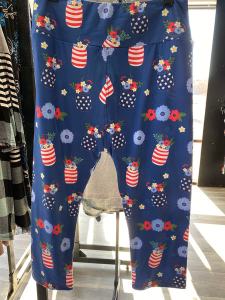Red, White & Blue Mason Jars Custom Capri Leggings