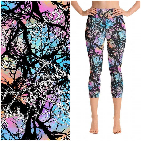 Unicorn Confetti Camo Custom Capri Leggings
