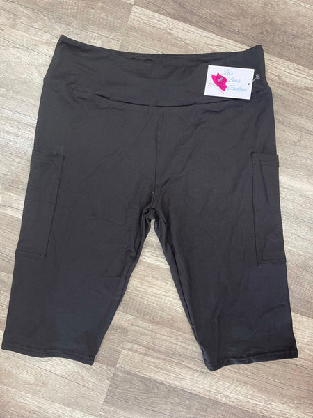 Solid Black Custom Biker Pocket Shorts