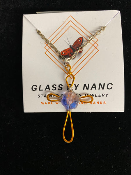 Glass by Nanc - Floral Stained Glass Cross Necklace - Blue/Pink