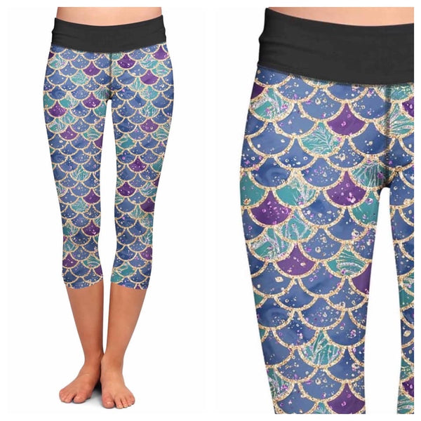 Mermaid Scales Custom Capri Leggings