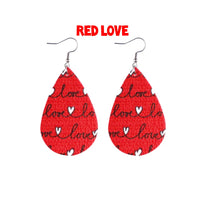Valentines Collection Teardrop Leatherette Earrings