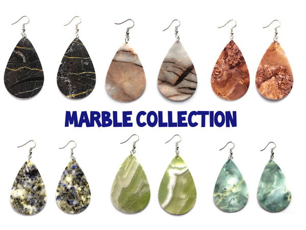 Smooth Marble Leatherette Earrings