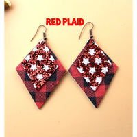 2 Tier Patterned Leatherette Earrings