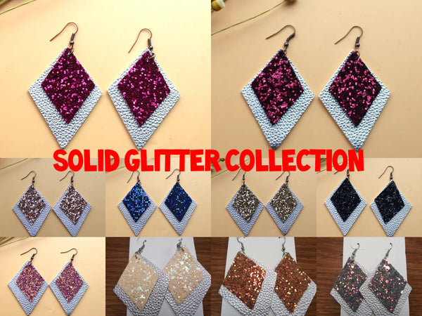 2 Tier Solid Glitter Leatherette Earrings