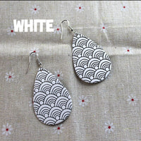 Patterned Teardrop Leatherette Earrings