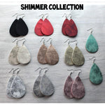 Shimmer Teardrop Leatherette Earrings