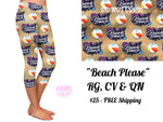 Beach Please Custom Capri Leggings *Kids & Adult