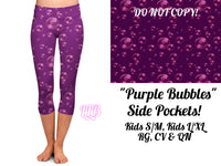Kids Purple Bubbles Custom Pocket Capri Leggings (L/XL)