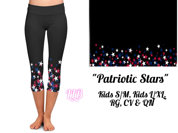 Patriotic Stars Custom Capri Leggings *Kids & Adult