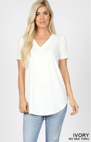 Short Sleeve V-Neck Tunic - Ivory (1X)