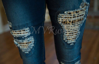 Patchwork Denim Jeans - Brown Leopard