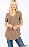 Short Sleeve V-Neck Tunic - Mocha (1X-2X)