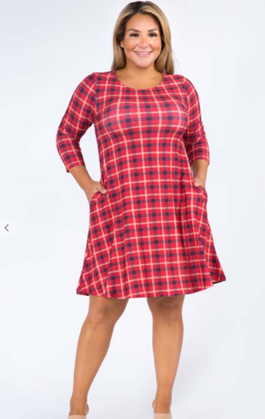 Plaid Pinafore Pocket Swing Dress - Red