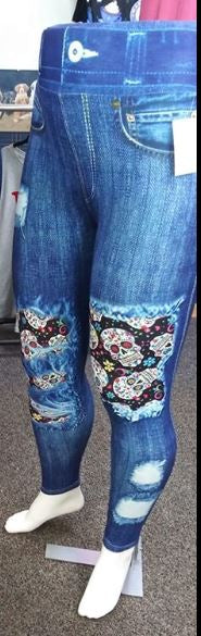 Candy Skull Patched Denim Custom Leggings