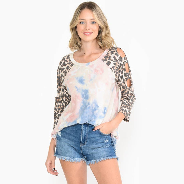 Tye-Dye Open Leopard Sleeve Top