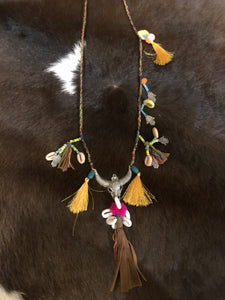 Multicolor Cow Skull Necklace