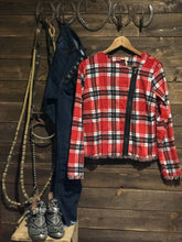 Load image into Gallery viewer, Red Plaid Moto Jacket