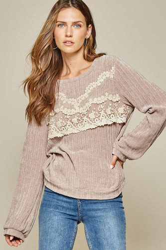 Taupe Lace Sweater