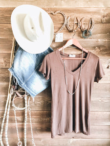 Basic Brown V Neck Tee