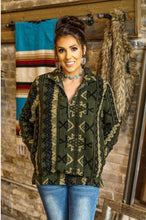 Load image into Gallery viewer, Olive Aztec Sherpa