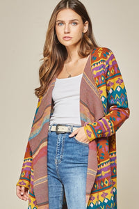 Rust and Teal Aztec Sweater