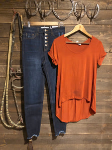 Rust Hi Lo Basic Tee
