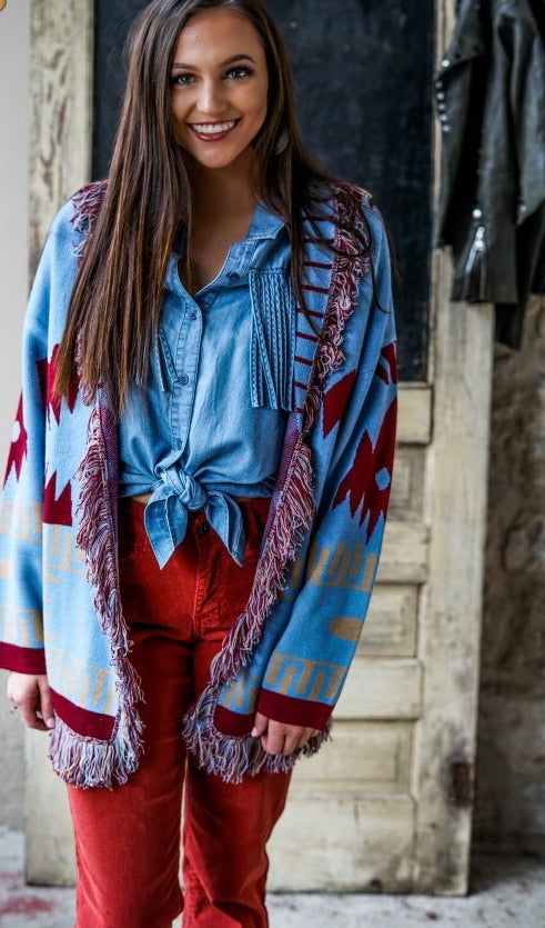 Blue Aztec Cardigan