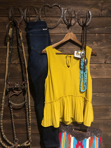 Mustard Pleated Blouse