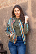 Load image into Gallery viewer, Olive Serape Bomber Jacket