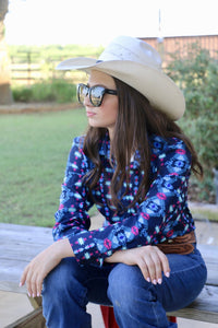 Blue Aztec Button Down