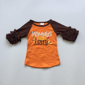 Mommy's Little Turkey Raglan with Ruffles - StarSailyrBoutique