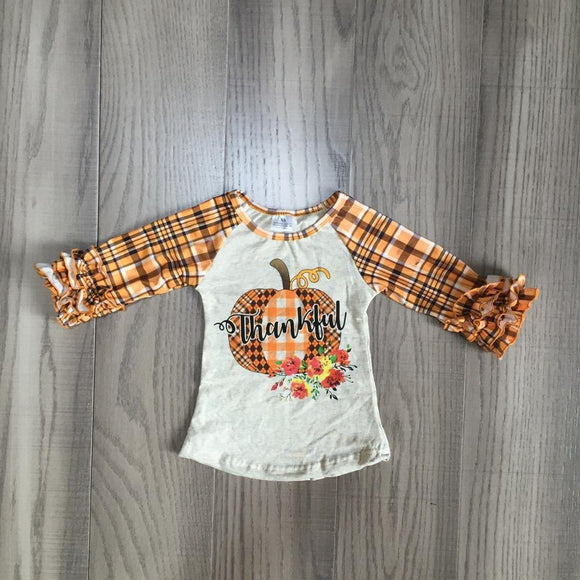Plaid Thankful Pumpkin Raglan with Ruffles